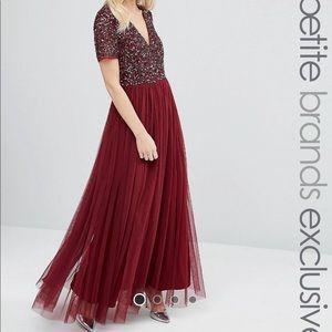 ASOS Maya Petite V-Neck Sequin Maxi Tulle Dress